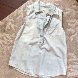 j.crew chambray sleeveless top pocket shirt